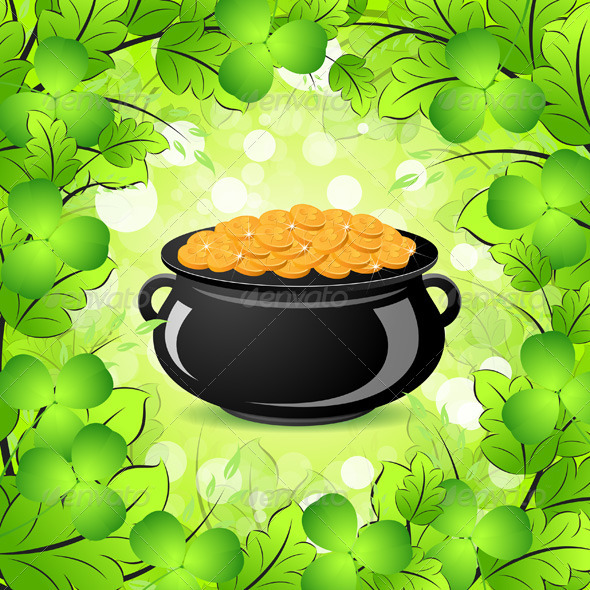 GraphicRiver St Patricks Day Cauldron with Gold Coins 3975917