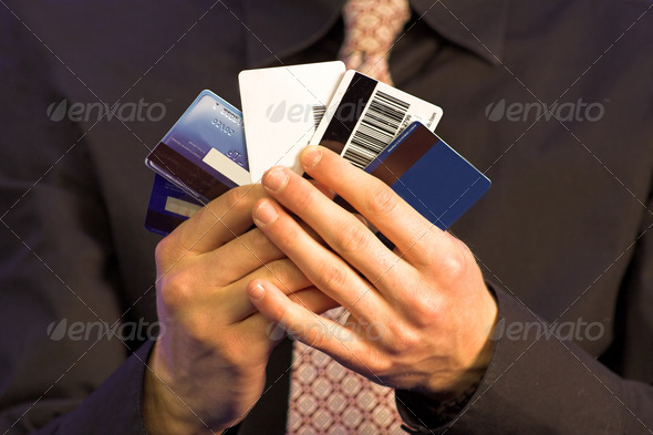 business credit choice - hands - Stock Photo - Images
