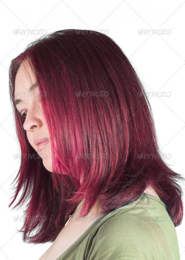 Pretty woman with couloured hair - Stock Photo - Images