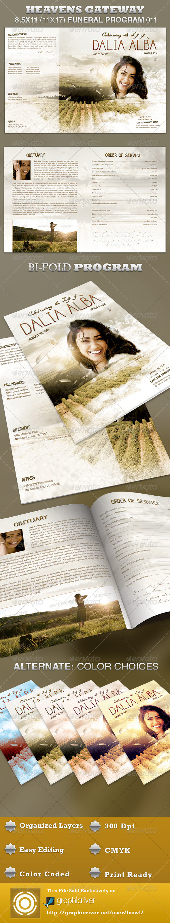 Heavens Gateway Funeral Program Template 011 - Informational Brochures