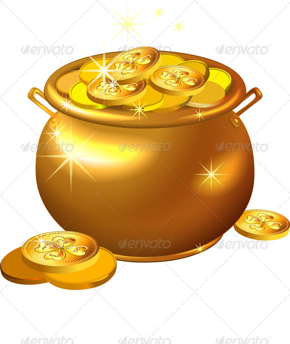 Vector St. Patrick`s Day Gold Pot with Coins - Seasons/Holidays Conceptual
