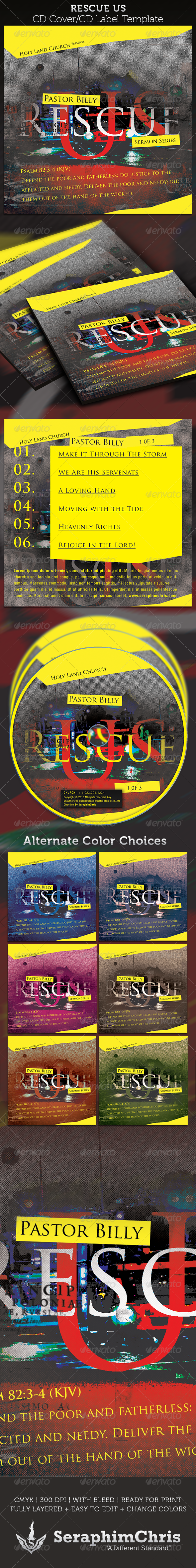 Rescue US CD Cover Artwork Template - CD &amp; DVD artwork Print Templates