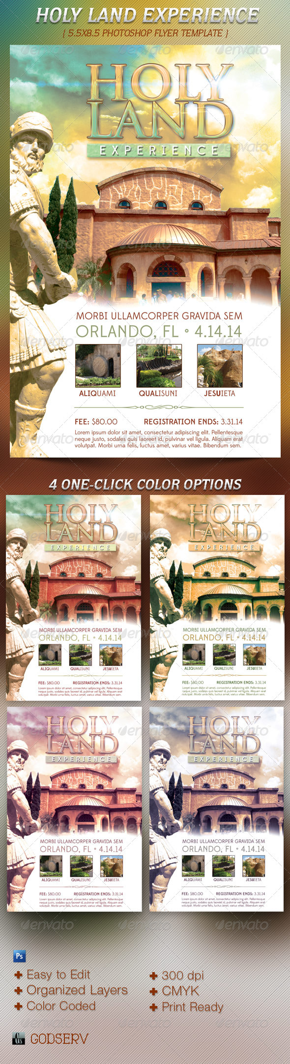 Holy Land Experience Flyer Template - Church Flyers