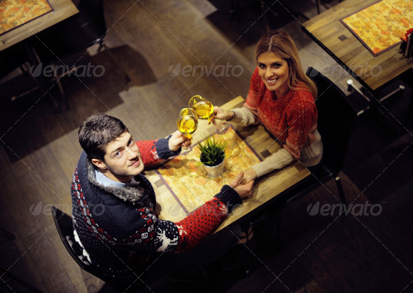 romantic evening date - Stock Photo - Images