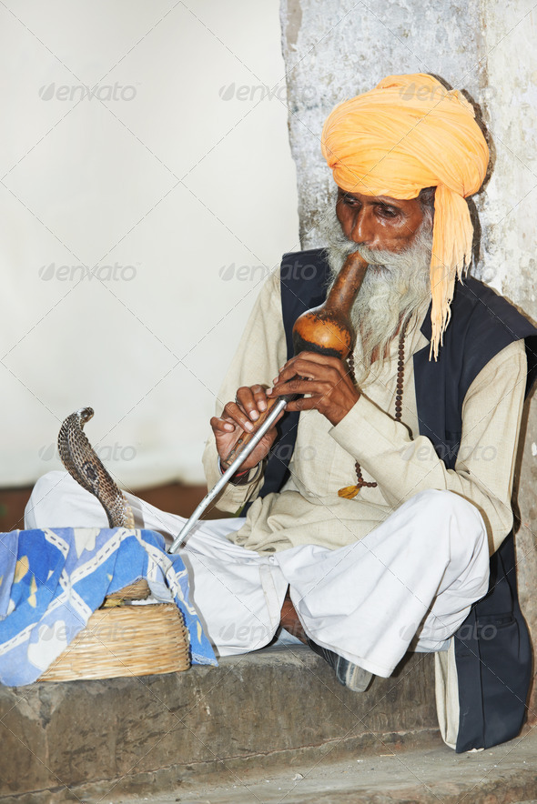 charmer of snake in India - Stock Photo - Images