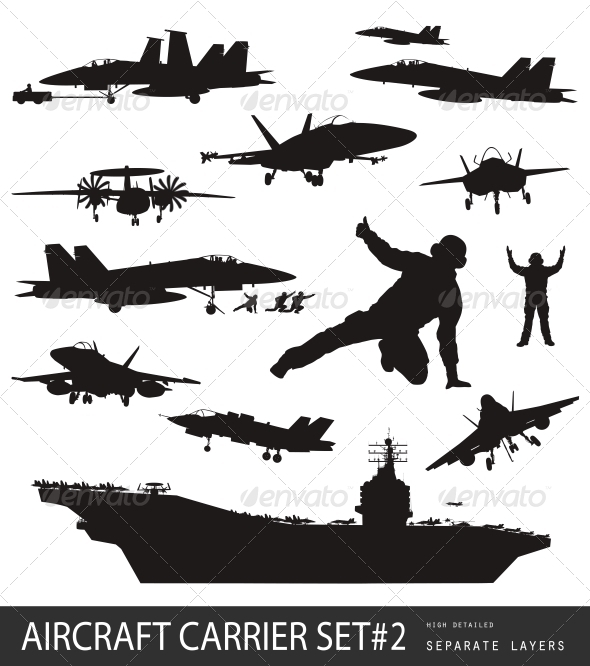 GraphicRiver Naval Aviation Silhouettes 3981303