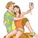 Tourist Couple Taking Their Self Portrait Vector - GraphicRiver Item for Sale
