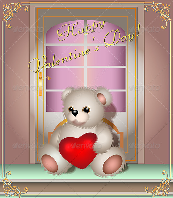 GraphicRiver Greeting card with Teddy bear and Door 3925347