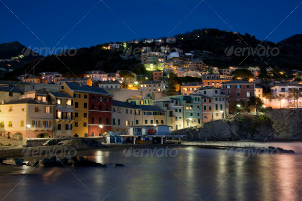 PhotoDune Overview of Bogliasco illuminated 3986439