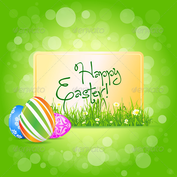 Easter Card with Grass and Decorated Eggs - Seasons/Holidays Conceptual