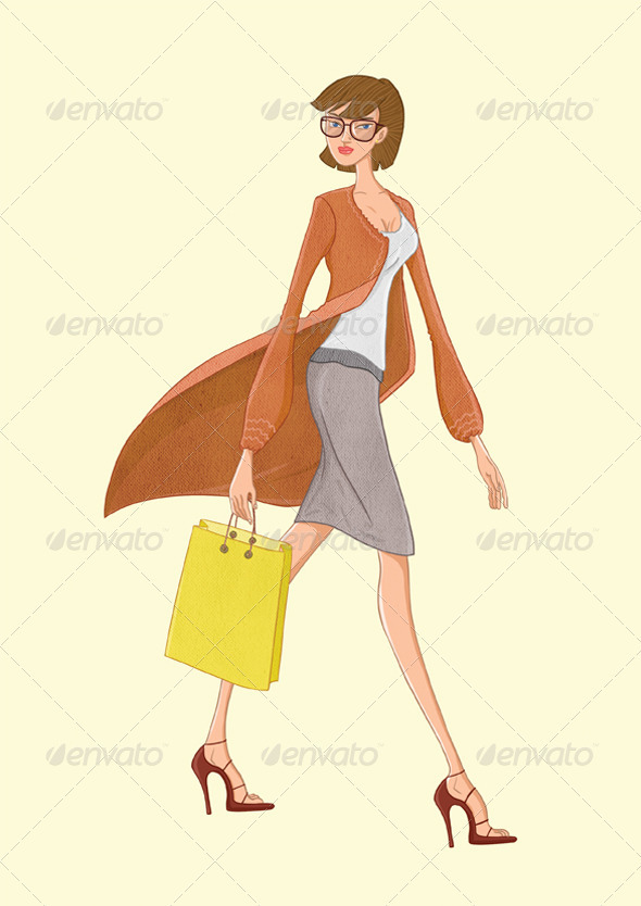 GraphicRiver Shopping Lady Or Fashion Lady 3987669