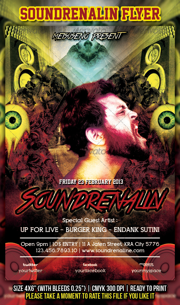 Soundrenalin Flyer - Concerts Events