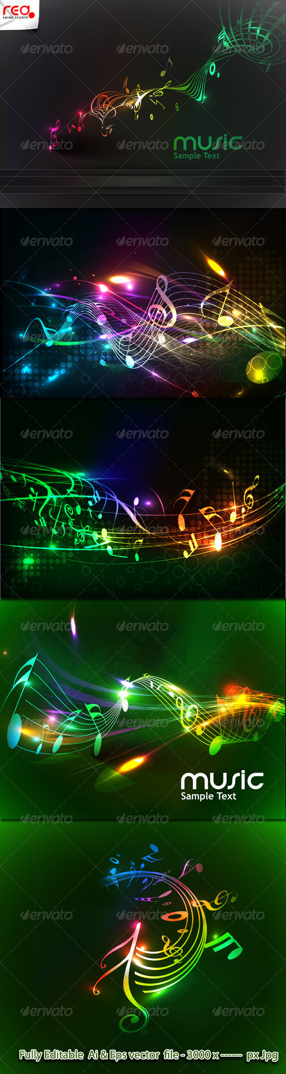 Colorful Music Note Background - Decorative Vectors