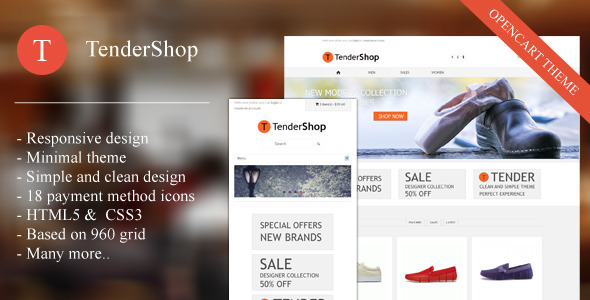 ThemeForest Tendershop Minimal Opencart Theme 3993659