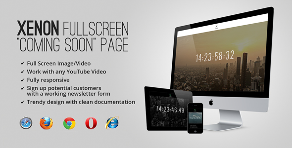 "Xenon Countdown — Fullscreen ""Coming Soon"" Page - Under Construction Specialty Pages"