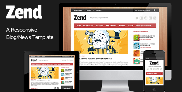 ThemeForest Zend Responsive Blog Magazine HTML template 3967675