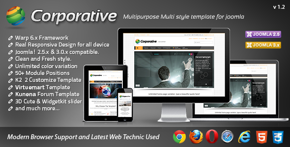 Corporative Responsive Joomla Template - ThemeForest Item for Sale