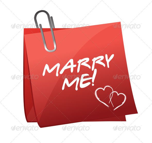 PhotoDune Marry Me written on a post it 3997446