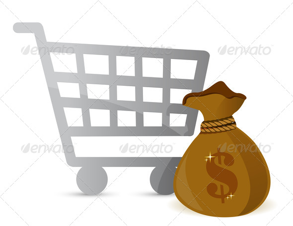 PhotoDune Shopping Cart & Money Bag Sign 3997428