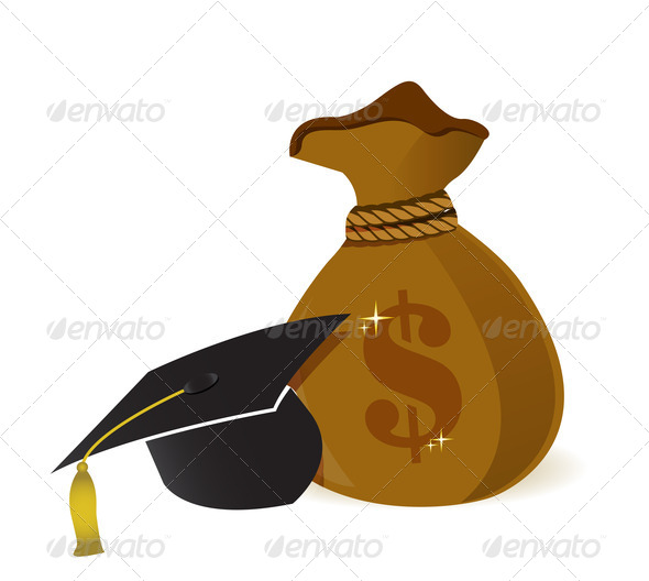 PhotoDune money bags education hat sign 3997431