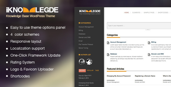 ThemeForest iKnowledge Knowledge Base Wiki WordPress Theme 3983838