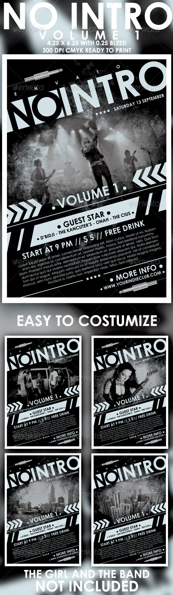 No Intro Vol 1 Flyer Template - Concerts Events