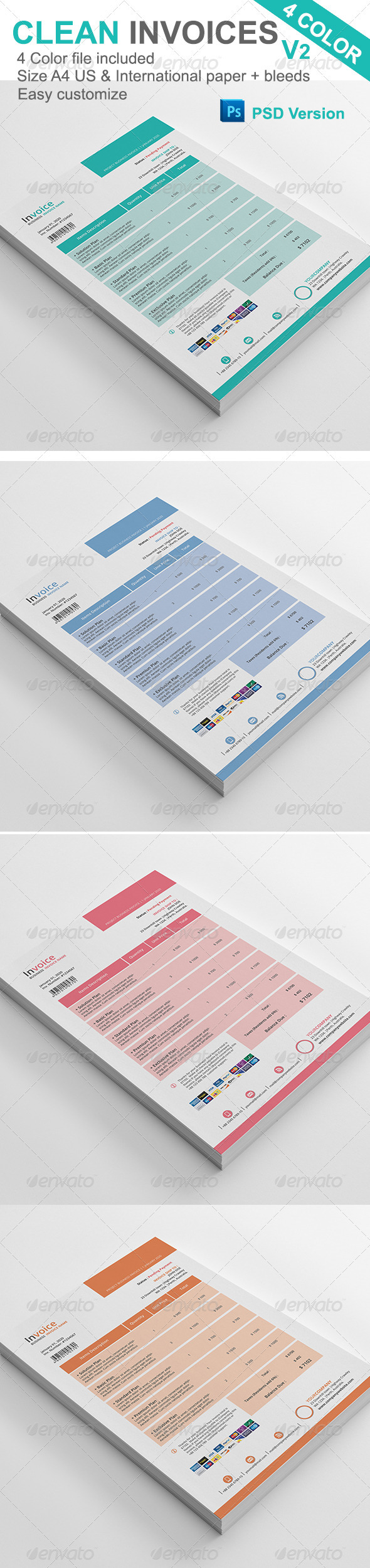 Gstudio Clean Invoices Template V2 - Proposals & Invoices Stationery