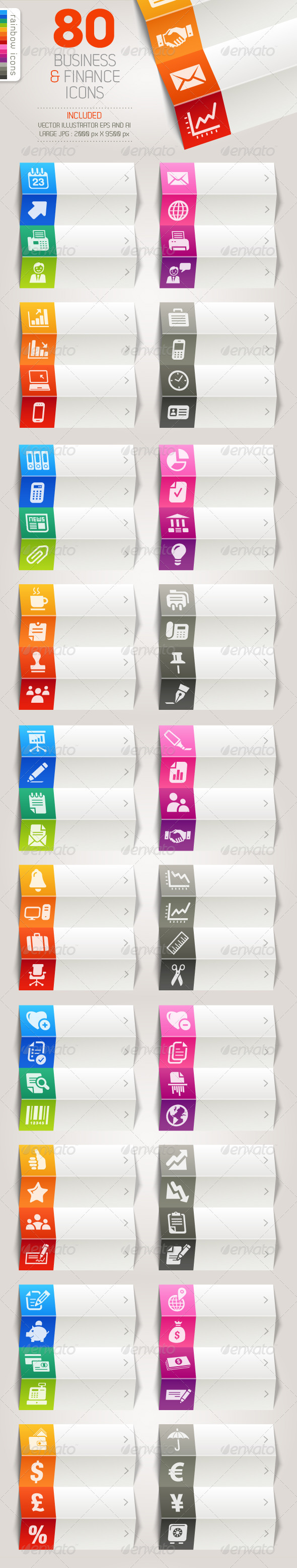 80 Business and Finance Icons - Rainbow - Icons
