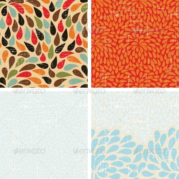 GraphicRiver Seamless Abstract Retro Drops Patterns 4002034