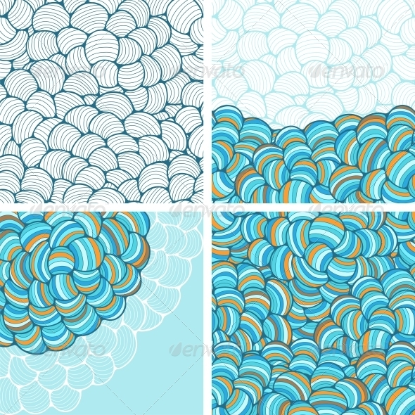 GraphicRiver Seamless Abstract Wave Hand-Drawn Patterns 4002157