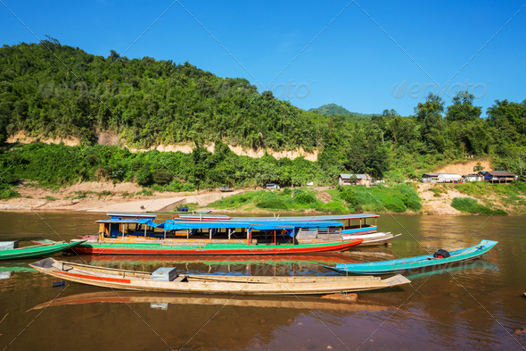 Boat in Laos - Stock Photo - Images