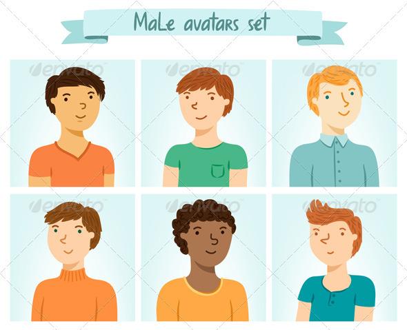 GraphicRiver Male Avatars Set 4002402