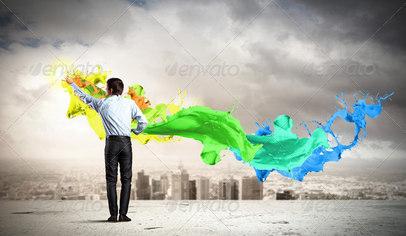 PhotoDune Man painting splashes 4004878