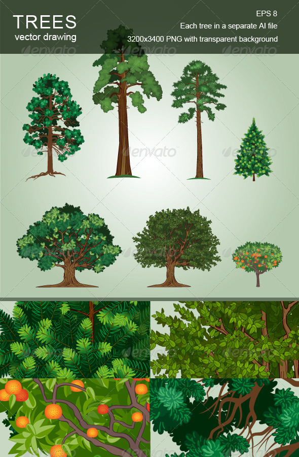 GraphicRiver Set of Vector Trees 4004260