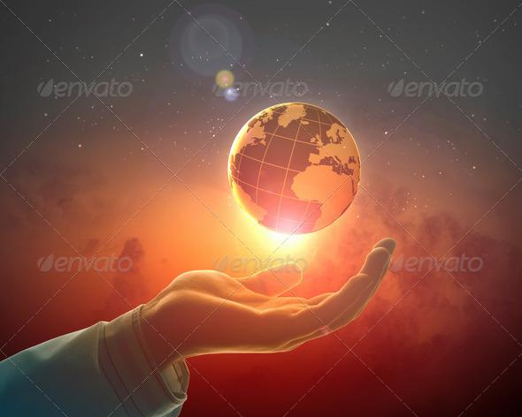 PhotoDune Image of earth planet on hand 4004882