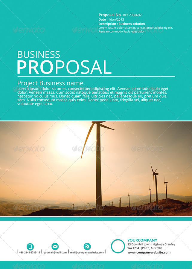 business proposal cover page template