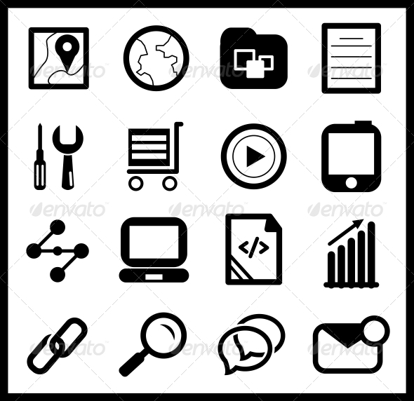 GraphicRiver Black web icon set 4006296