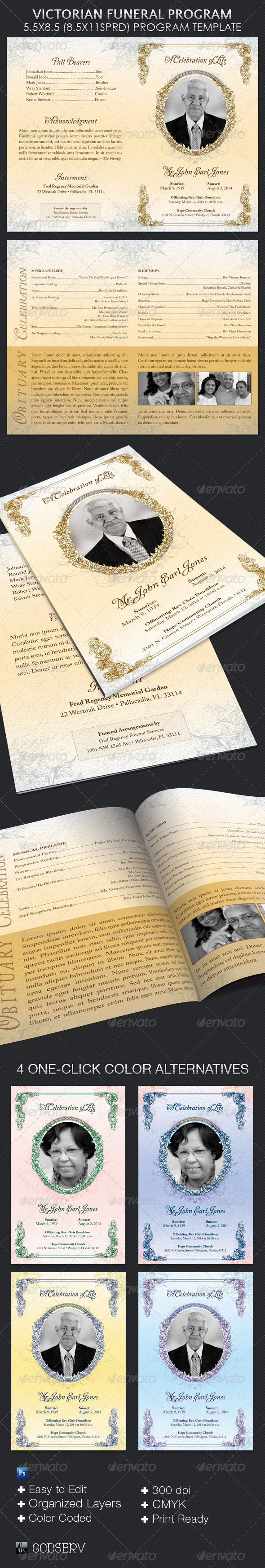 GraphicRiver Victorian Funeral Program Template