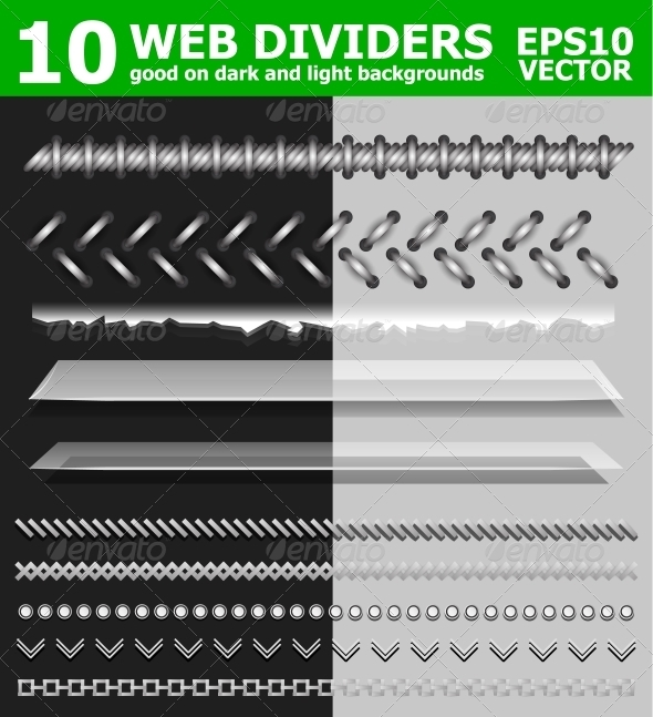 Set of 10 web page dividers - Web Elements Vectors