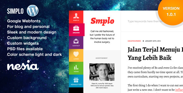Simplo - Responsive WordPress Blog / Personal - Blog / Magazine WordPress