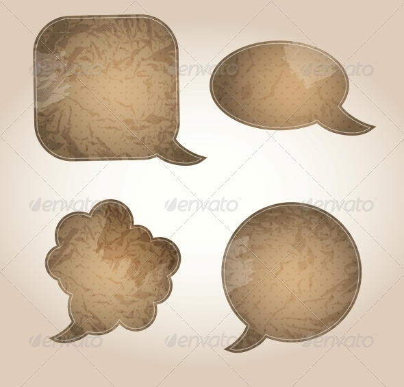 GraphicRiver Aged Paper Speech Bubbles Vector Illustration 4006649