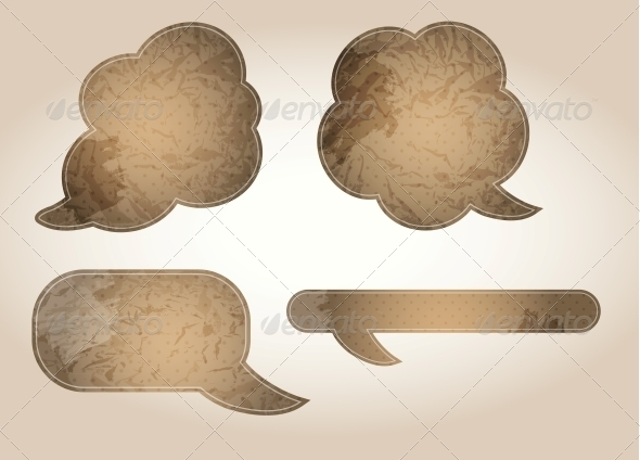 GraphicRiver Aged Paper Speech Bubbles Vector Illustration 4006657