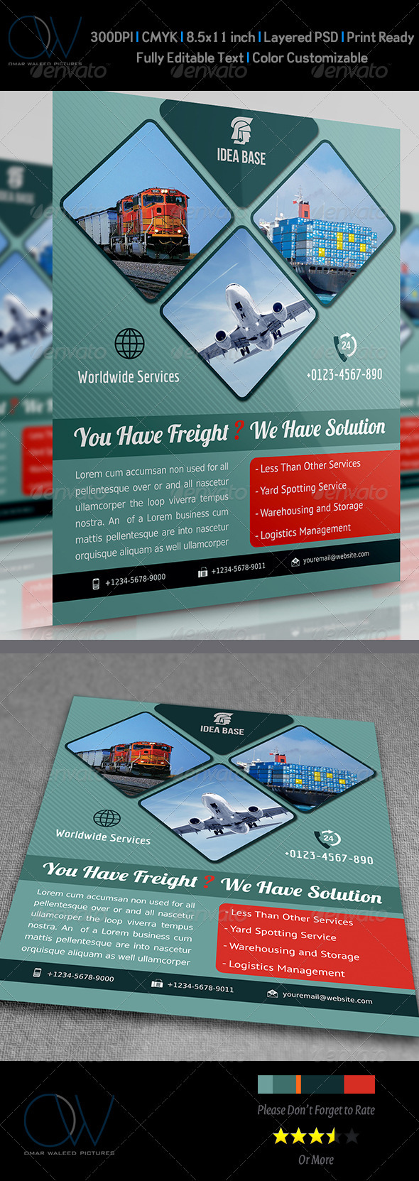 GraphicRiver Freight Shipment Services Flyer 3825230