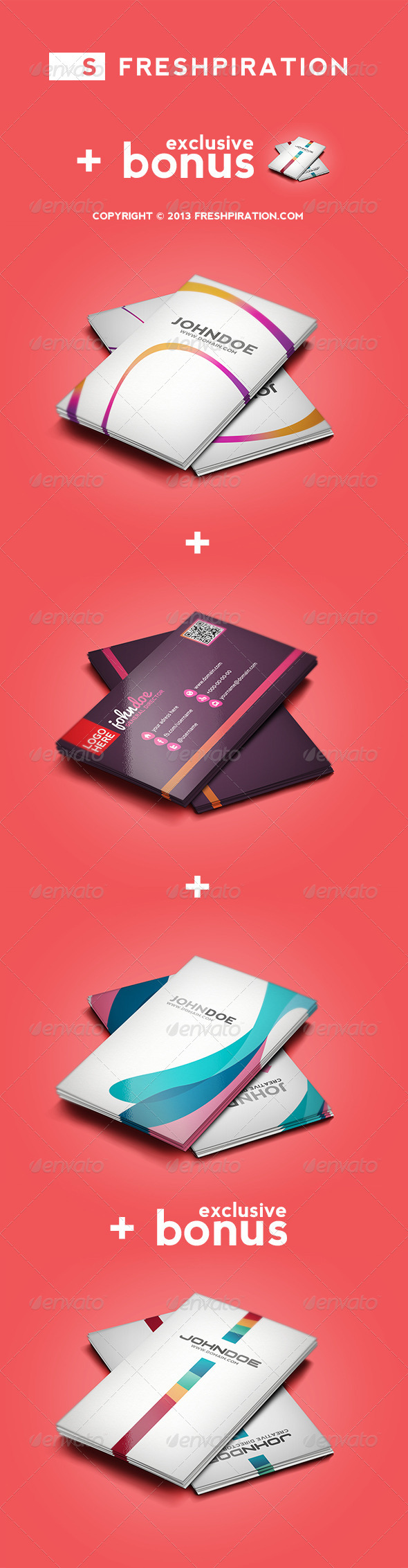 GraphicRiver 4 Colorful Business Cards Pack 1 Exclusive Bonus 4008993