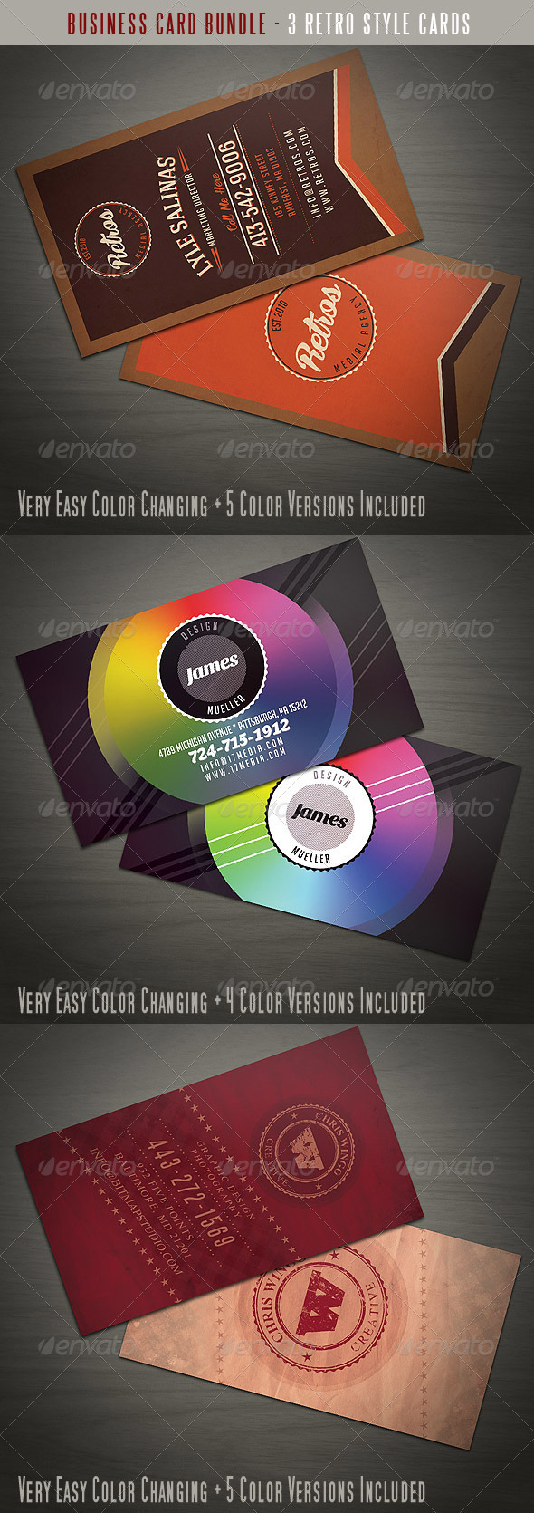 GraphicRiver Retro or Vintage Business Card Bundle 4009182