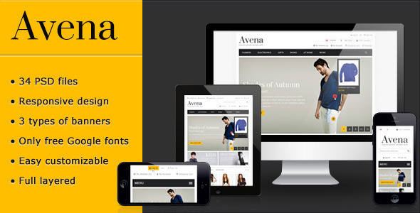 Avena PSD eCommerce template - Retail PSD Templates