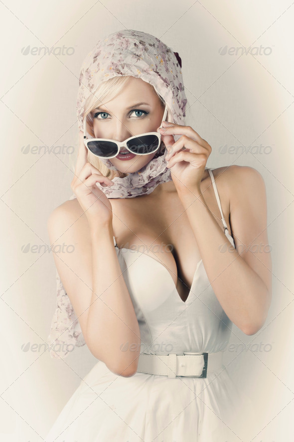 Retro Pin-up Girl In Classic Fashion Style - Stock Photo - Images