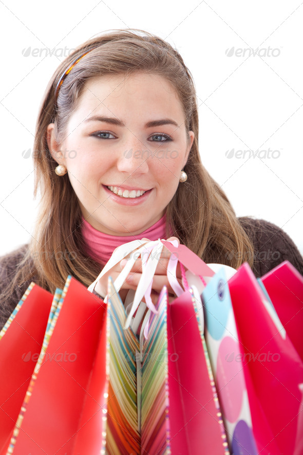 Woman with bags - Stock Photo - Images