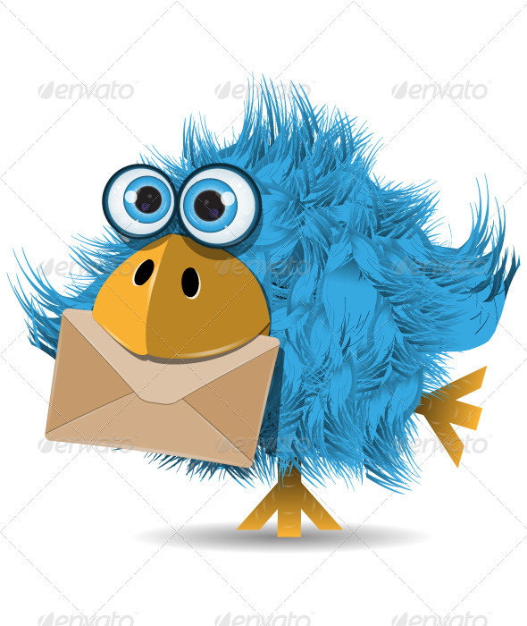 GraphicRiver Shaggy Blue Bird with Envelope 4016901
