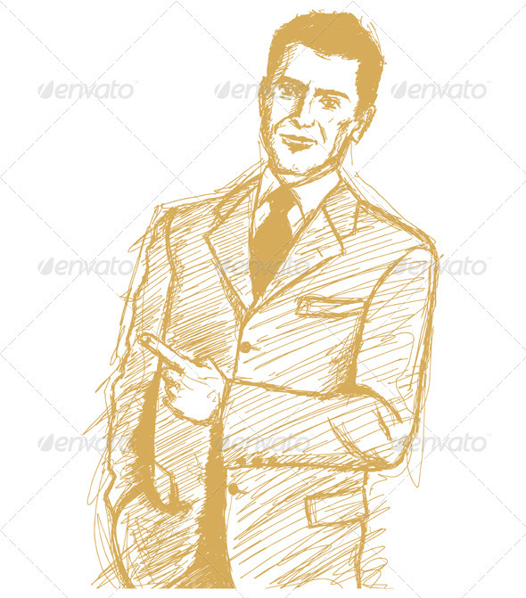 GraphicRiver Sketch Business Man Shows Something With Finger 4017329